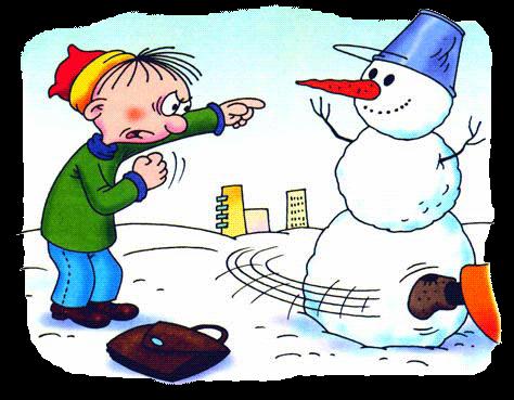 Школьник подскочил к снежной бабе, уже