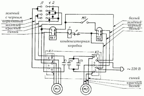 Рис.91.  Принципиальная схема подключения электродвигателей стиральной машины типа СМП.