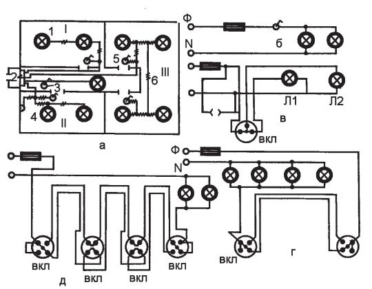 Схемы электрических проводок.