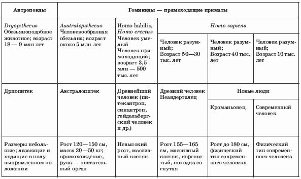 таблица этапы антропогенеза 8 класс