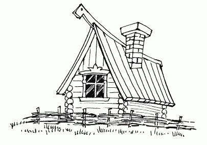 русская изба рисунок карандашом запросу картина
